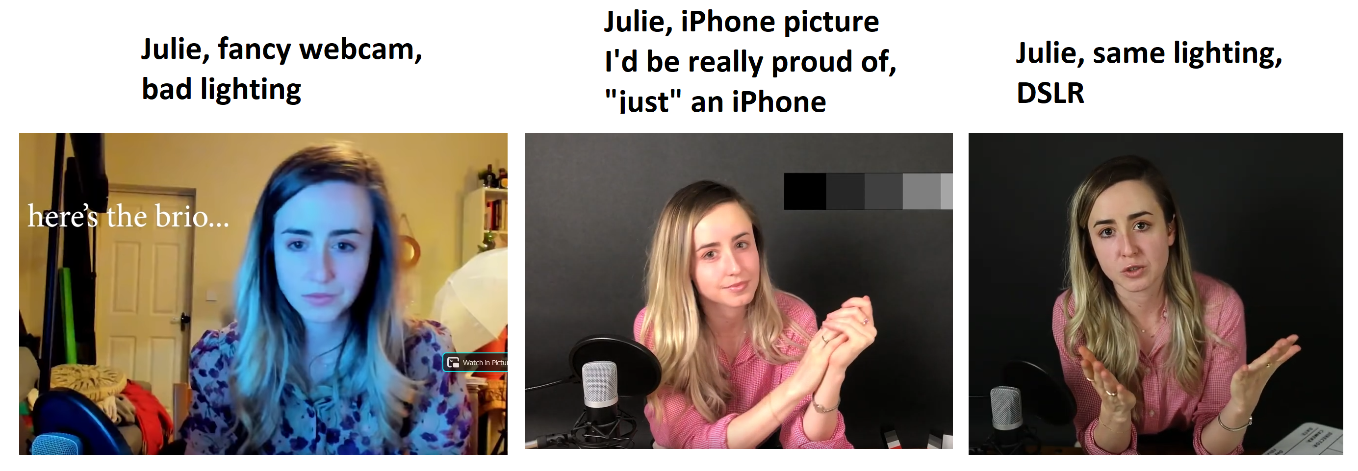 Screenshots of Julie's YouTube lighting in 3 stillframes