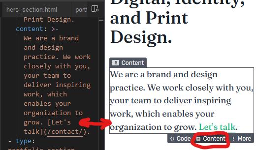 Screenshot of Stackbit's content panel