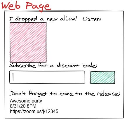 Bandcamp widget wireframe