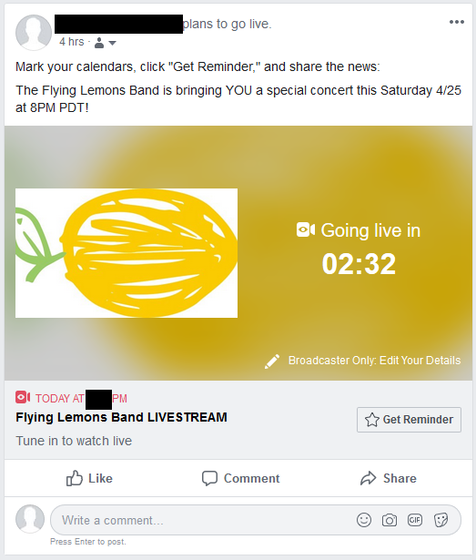 Screenshot of a Facebook announcement post