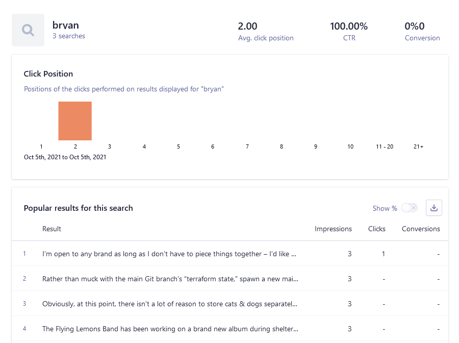 Screenshots of Bryan's name showing up in my click results