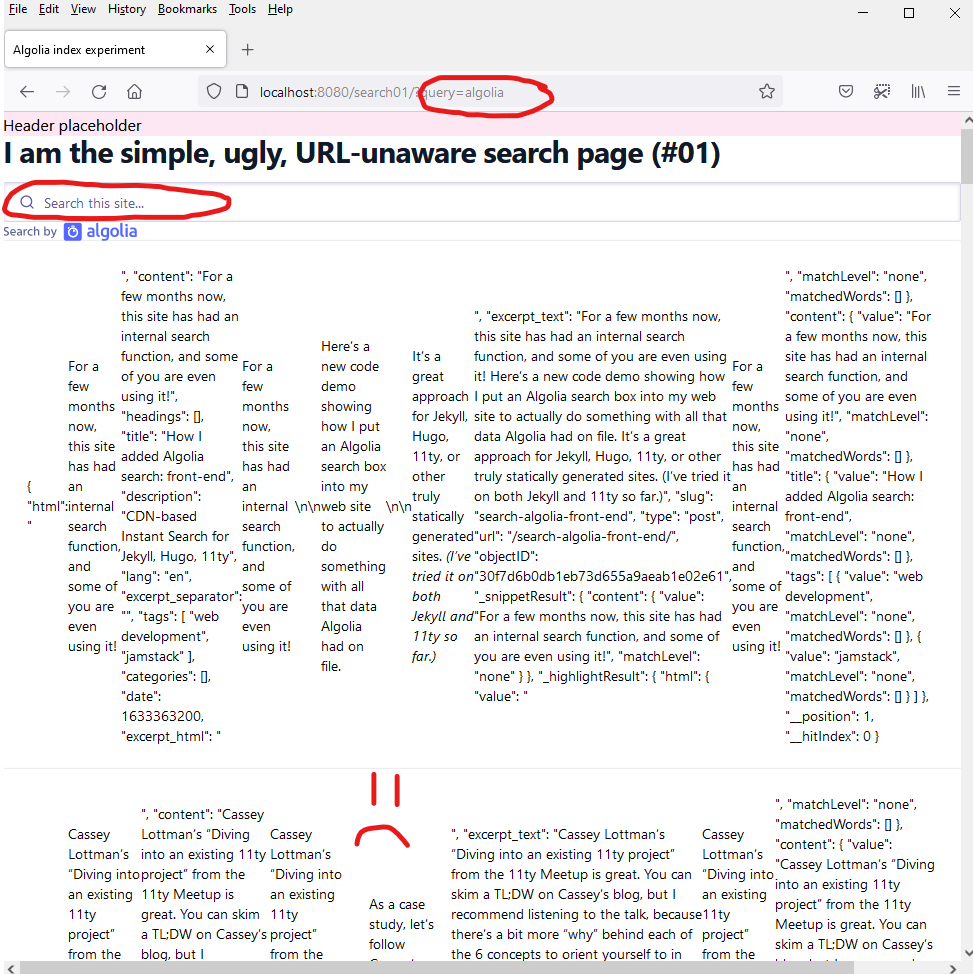 Screenshot of the simple, URL-unaware search page with results unfiltered despite a URL query parameter